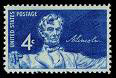 blue Lincoln postage stamp